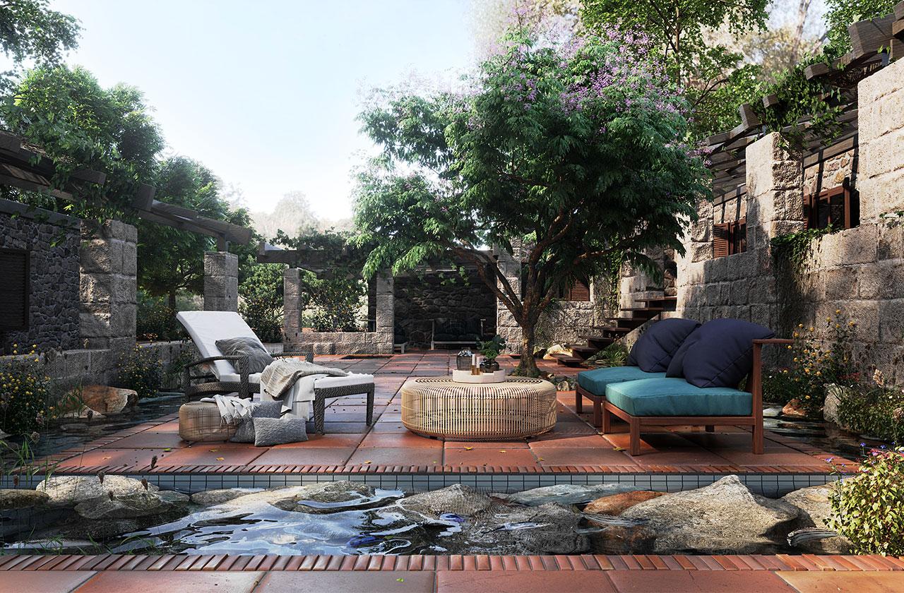 Wasserspiele und Teiche in mediterran anmutendem Garten